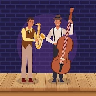 Saxofonista y músico de dibujos animados, banda de música jazz