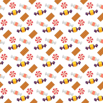 Scandy dulce y galletas de patrones sin fisuras con seets y caramelos hervidos dispersos en envoltorios