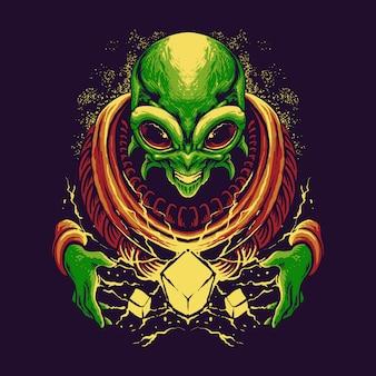 Scary alien superpower diseño de ilustración