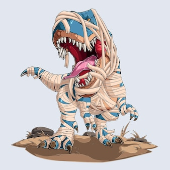 Scary momia dinosaurio trex rugiendo para fiesta de halloween