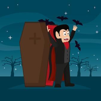 Scary vampiro con su ataúd en el bosque y murciélagos
