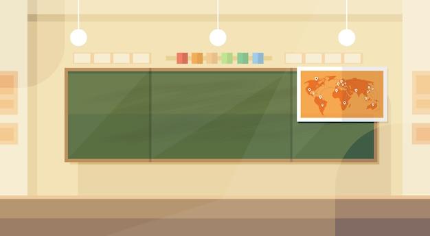 School classroom interior board map flat design