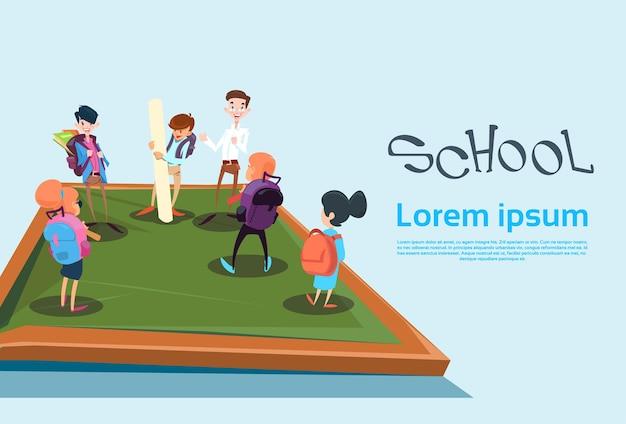 Schoolchildren group back to school education banner