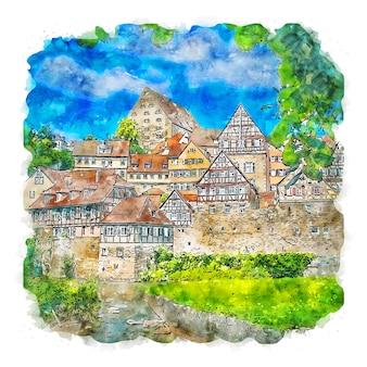 Schwabisch hall alemania acuarela dibujo dibujado a mano ilustración