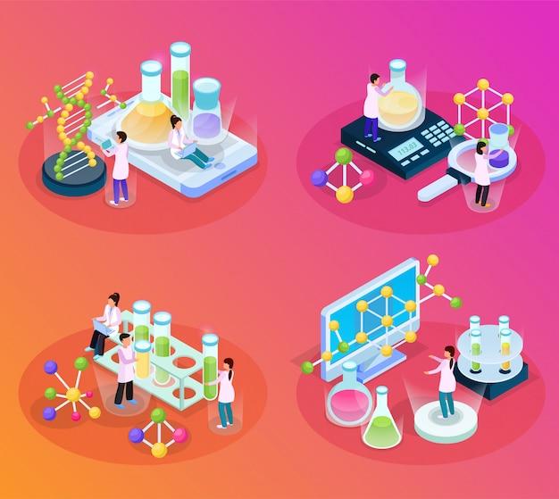 Science research isometric glow 4x1 con composiciones de imágenes de moléculas químicas, elementos de laboratorio y personas