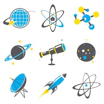 Science stuff icon universo sistema solar planet rocket cartoon