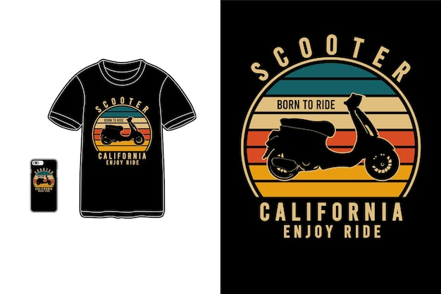 Scooter california enjoy ride, tipografía de maqueta de siluet de mercancía de camiseta