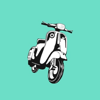 Scooter clásico retro personalizado club moto silueta