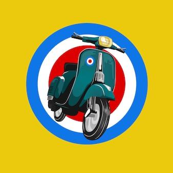 Scooter clásico retro personalizado club de la motocicleta