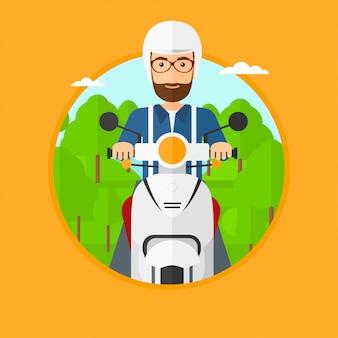 Scooter de hombre a caballo.