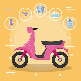 Scooter de moto con conjunto de iconos