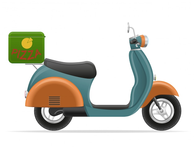 Scooter retro para la ilustración de vector de entrega de pizza