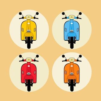Scooters modernos y estilo colorido.