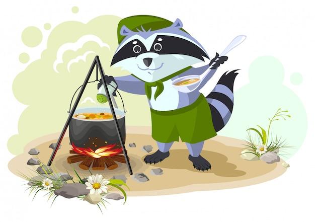 Scout mapache cocinando sopa sobre fogata. vacaciones de verano camping