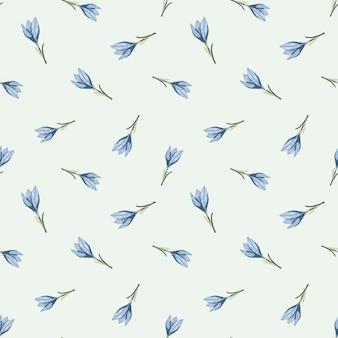 Scrapbook botánico de patrones sin fisuras con pequeña flor de azafrán azul contorno aleatorio
