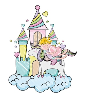Scribbled niño durmiente montando unicornio
