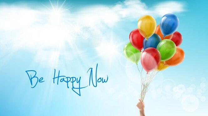 Sé feliz ahora, banner motivacional positivo. frase inspiradora, palabras de sabiduría