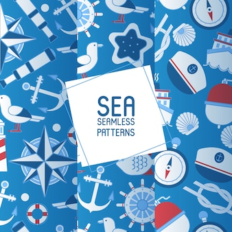 Sea adventure set of seamless patterns colección náutica de cosas como rueda de barco, catalejo, brújula, ancla, gorra y nudo.
