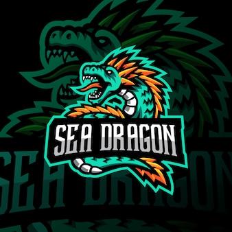 Sea dragon mascot logo gaming esport ilustración