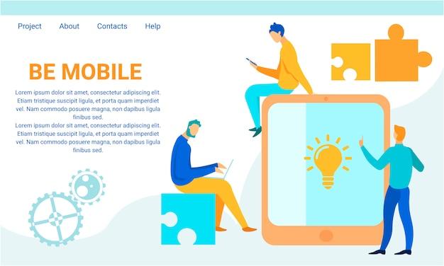 Sea móvil con el gadget moderno motive la página de destino
