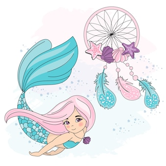 Sea travel clipart color vector illustration set mermaid dreamcatcher