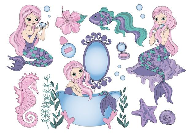 Sea travel clipart color vector illustration set purple mermaid