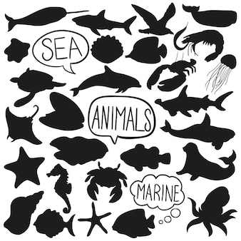 Sea water animals doodle silhouette vector clip art