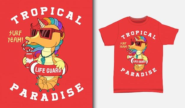 Seahorse unicorn the the lifeguard illustration, con diseño de camiseta, dibujado a mano