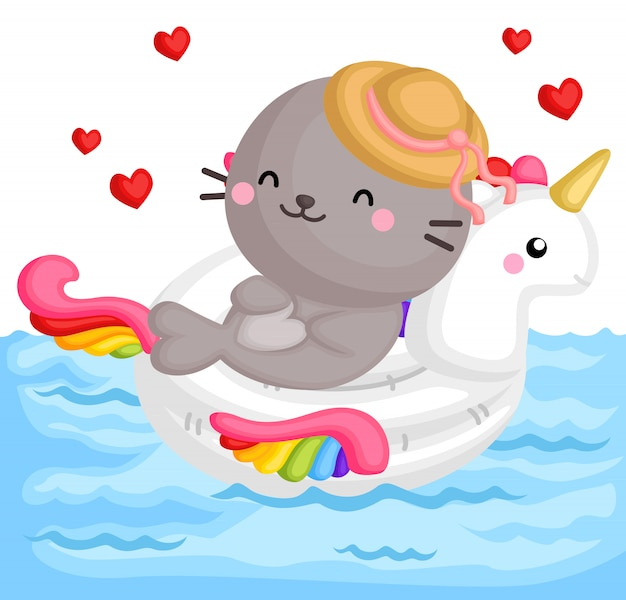 Seal on unicorn float