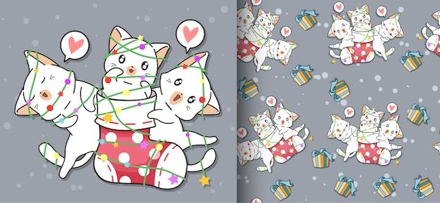 Seamless kawaii happy cat está en un patrón de calcetín y amigos