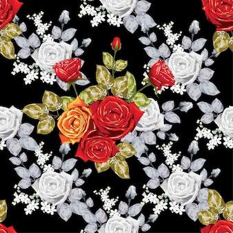 Seamless pattern vintage rose.