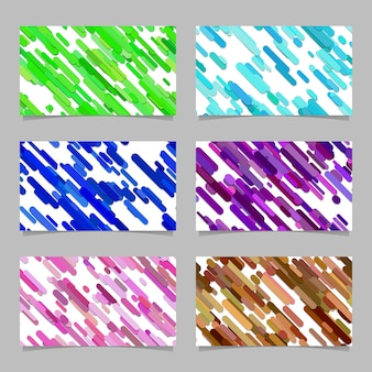 Seamless resumen aleatorio redondeado diagonal raya patrón tarjeta plantilla de fondo conjunto - ilustraciones vectoriales con rayas en tonos de colores
