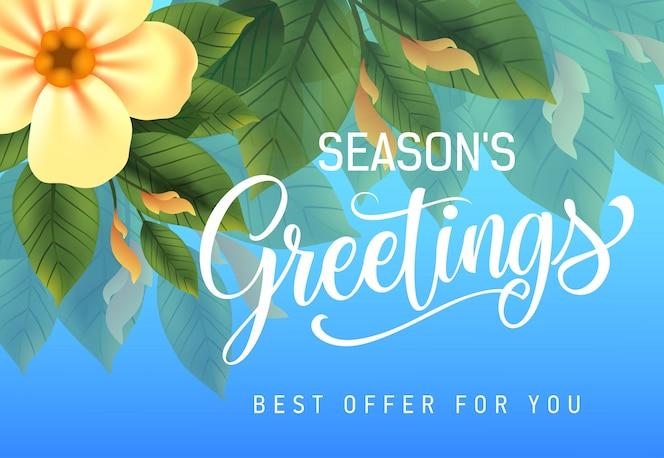 Seasons greetings, la mejor oferta para ti diseño publicitario con flores amarillas y hojas