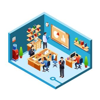 Sección transversal de la sala de la oficina, coworking con empleados, empleados en su lugar de trabajo