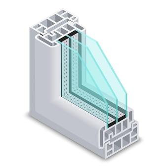 Sección transversal de ventana energéticamente eficiente. ventana de ahorro de energía de perfil de plástico, ventana de esquina de estructura