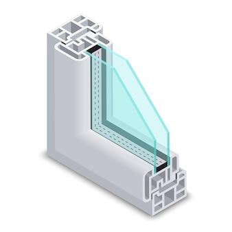 Sección transversal de la ventana de vidrio transparente para el hogar. estructura de marco de ventana. ventana de marco de perfil de plástico