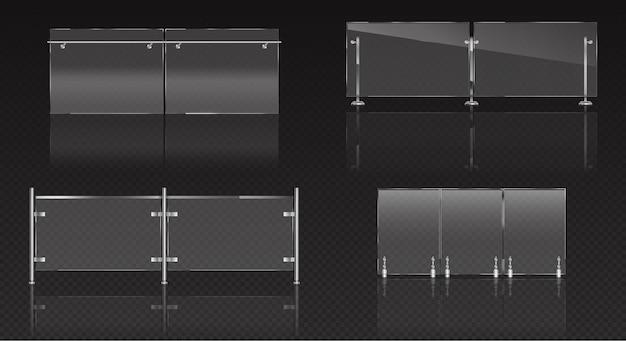 Sección de valla de vidrio, balaustrada de plexiglás con barandilla de metal y láminas transparentes para piscina