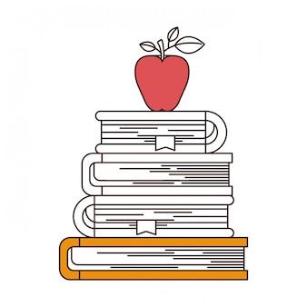 Secciones de color silueta de pila de libros con fruta de manzana.