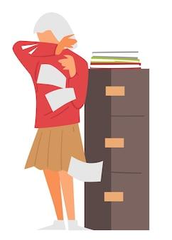 Secretaria con documentos tosiendo, personaje femenino que trabaja en la oficina estornudando personaje enfermo con papeles, síntomas de coronavirus. enfermedad contagiosa y propagación en el trabajo, vector de estilo plano