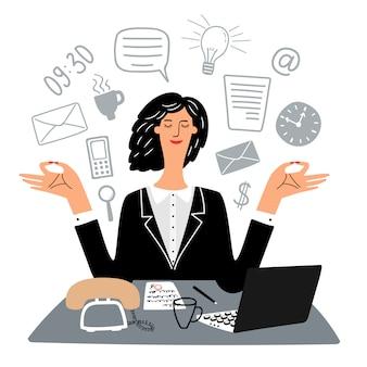 Secretaria mujer medita tranquilamente en el lugar de trabajo