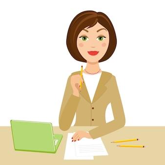 Secretaria de oficina con cuaderno y lápiz en la mano
