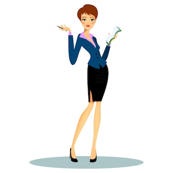 Secretaria profesional de dibujos animados o planificador de negocios con ropa formal mientras toma notas en la agenda