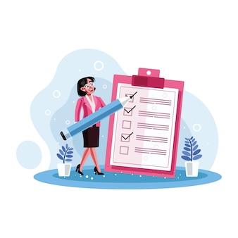Secretario marcado lista de verificación en un papel de portapapeles