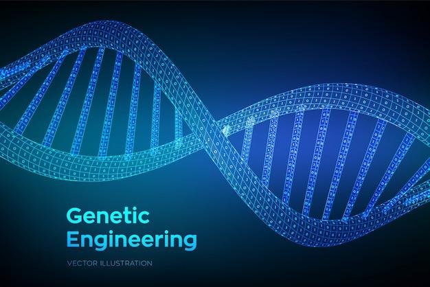 Secuencia de adn de estructura alámbrica con código binario,