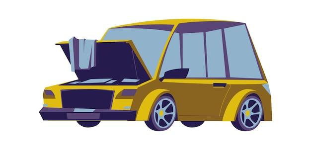 Sedán de coche viejo con capó abierto, icono de vector aislado de dibujos animados