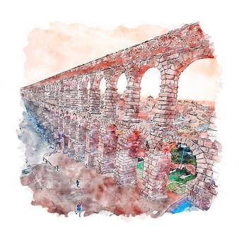 Segovia españa acuarela dibujo dibujado a mano ilustración