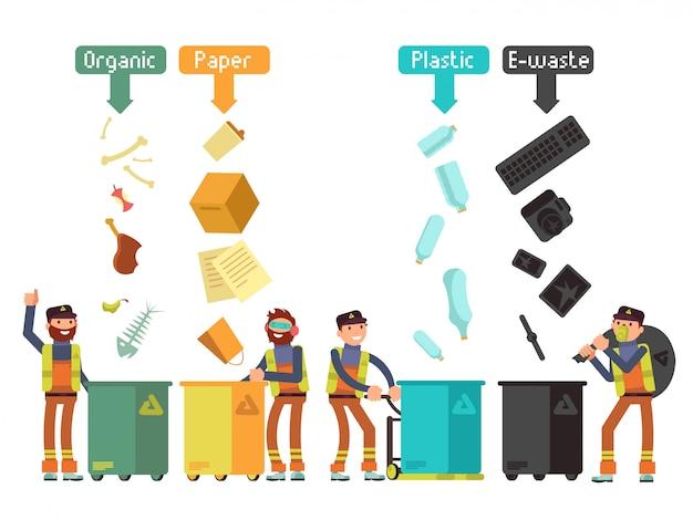 Segregación de residuos de basura para el concepto de vector de reciclaje