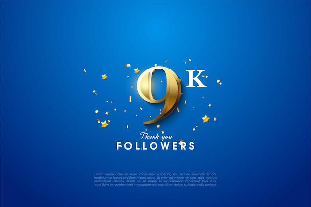 Seguidores de 9k con números dorados brillantes sobre un fondo azul.