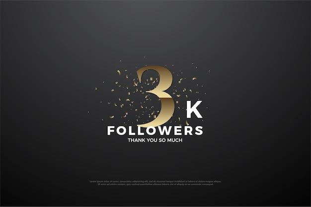 Seguidores de fondo 3k con números dorados.
