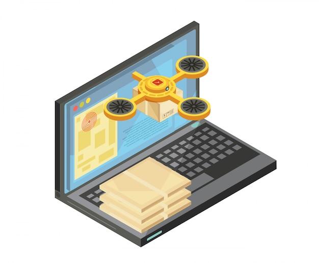 Seguimiento de la entrega mediante la composición isométrica de internet, incluidos los paquetes en el teclado, la ubicación de las mercancías en la pantalla del portátil, ilustración vectorial